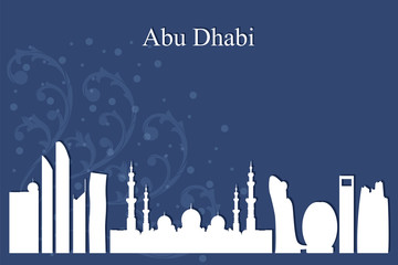 Abu Dhabi city skyline silhouette on blue background