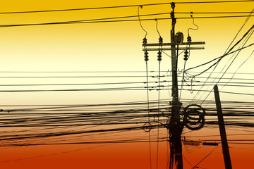 electricity post with many wire, dreamy color background