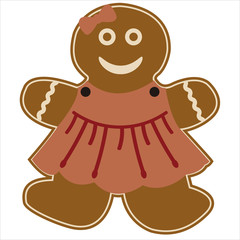 gingerbread girl with pink dress and a bow