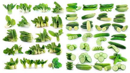 cucumber and Bok choy (chinese cabbage) isolated on white backgr
