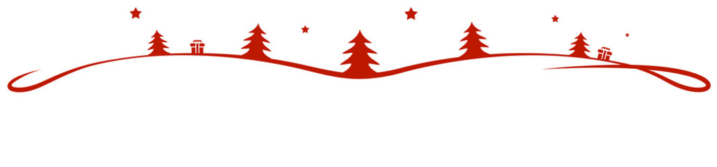 Wall Mural - red christmas element trees stars