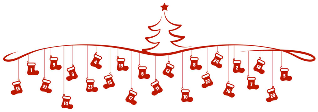 red christmas shoes advent calender element tree
