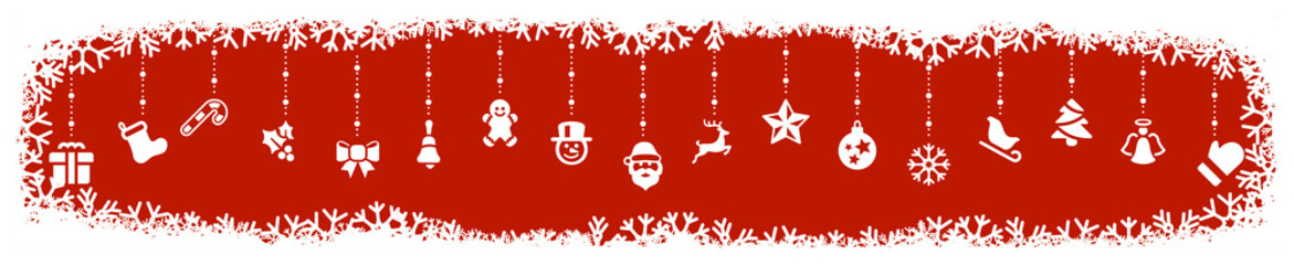 Wall Mural - red christmas icons element border