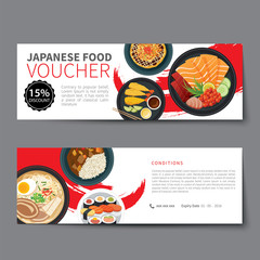 japanese food voucher discount template flat design