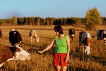A girl and a herd of cows