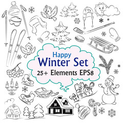 Beautiful Winter Vector Sketch Collection