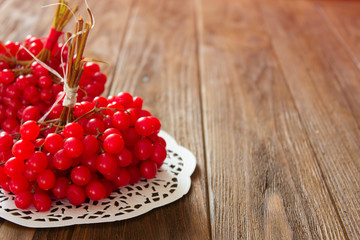 viburnum on a wooden table