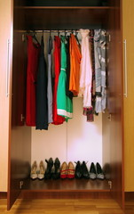 wardrobe with clothes and shoes