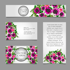 Four cards with white and pink flower composition