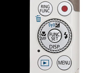 Closeup part of digital camera (button control).