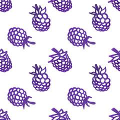 Watercolor vintage blackberry seamless vector pattern