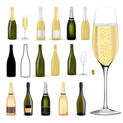 Bottle of champagne and Glass of champagne or sparkling wine.