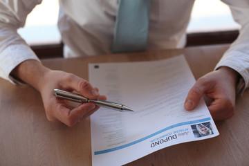 Recruitment manager looks a curriculum vitae