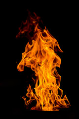 Photo sur Toile Feu, Flamme yellow Fire flame isolated on black background