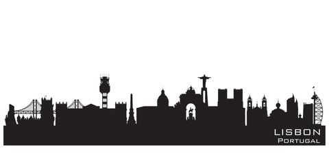 Wall Mural - Lisbon Portugal city skyline vector silhouette