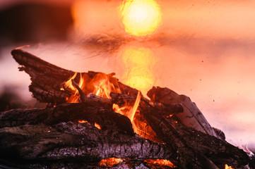 Flame and smoke on a bonfire