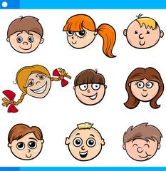 cartoon kids characters faces set