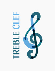 Modern logo in the shape of a treble clef in blue colors. Sign for your business. Vector illustration.