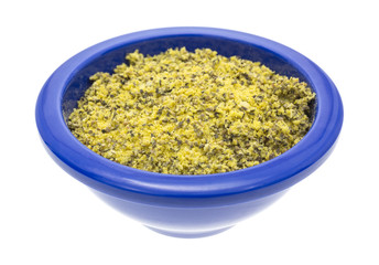 Lemon pepper seasoning in a blue bowl