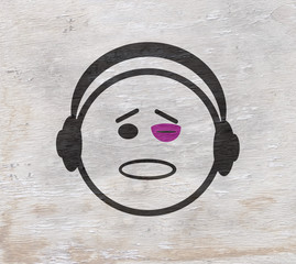funny comic character with black eye design with wood grain texture