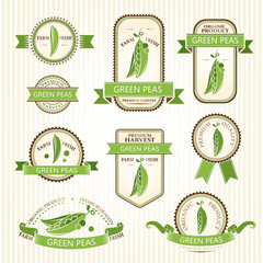 Green peas.  Vegetables labels collection.