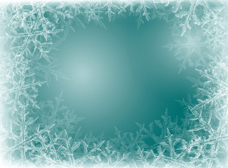 Blue Winter background from snowflakes