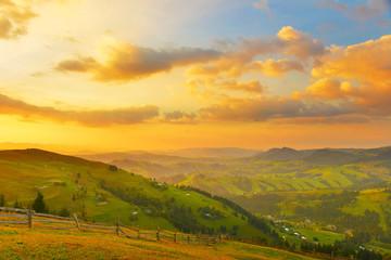 Foto auf Leinwand Camping Morning countryside