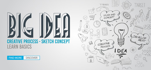 Big Idea concept with Doodle design style :Finding Solutions