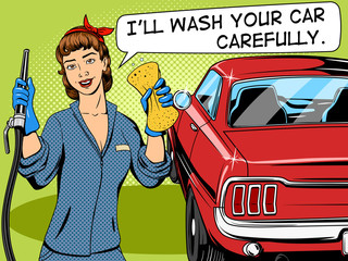 Car wash girl comic book style vector
