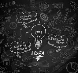 idea concept with light bulb and doodle sketches infographic icons