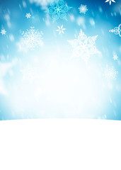 winter background with snowflakes and place for text