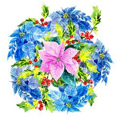 Colorful, elegant xmas design with Poinsettia in center