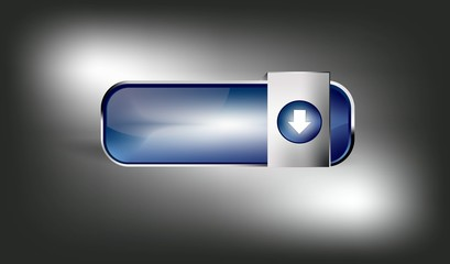 Shiny blue download button with download symbol and background