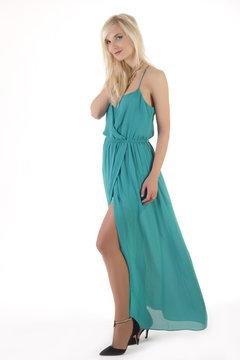 Beautiful blonde woman in flying dress