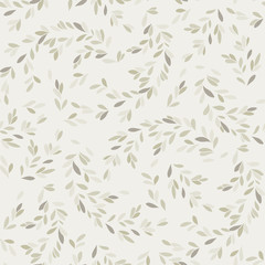 vector seamless pattern with leaves and stems in doodle style