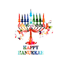 Colorful Hanukkah menorah with candles
