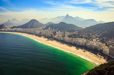 Aerial view of famous Copacabana Beach and Ipanema beach