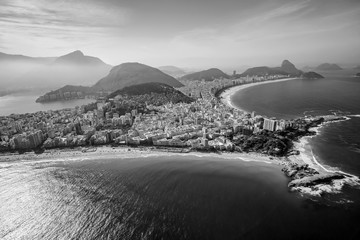 Wall Mural - Aerial view of famous Copacabana Beach and Ipanema beach in Rio