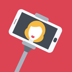 Flat design girl taking selfie with monopod.