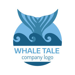 Whale tail logo. Vector isolated illustration.