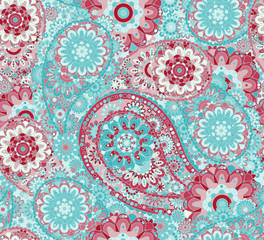 Traditional oriental seamless paisley pattern. Vintage flowers background. Decorative ornament backdrop for fabric, textile