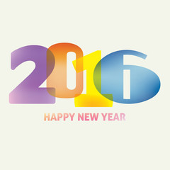New Year card with typography '2016' on light background