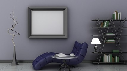 Empty picture frames in classic interior background on the decorative painted wall with wooden floor. Privat library with chair and floor lamp. Copy space image. 3d render