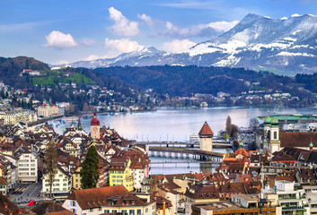 Lucerne, Switzerland, aerial view of the old town, lake and Rigi mountain Wall mural