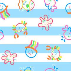 Neon sea life on stripes.