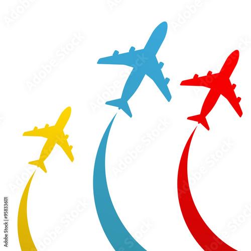 Icono plano avion en varios colores #1\