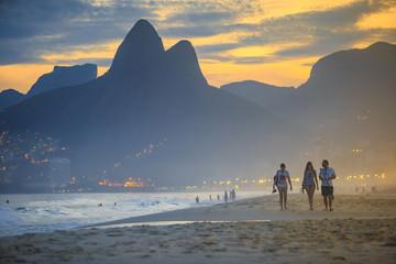 Garden Poster Brazil View of Ipanema Beach in the evening, Brazil