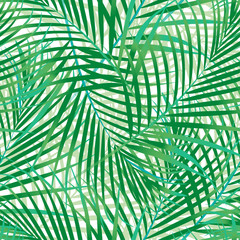 Poster Tropische Bladeren Green palm leaves seamless pattern.