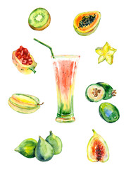 Watercolor exotic fruits juice.
