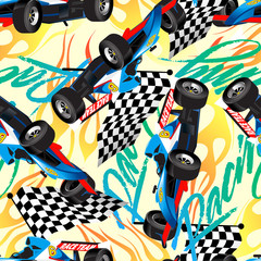 Racing with checkered flag seamless pattern
